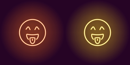 Neon illustration of teasing emoji. Vector icon of cartoon teasing emoji with tongue and winking eyes in outline neon style, orange and yellow colors. Glowing emoticon with backlight