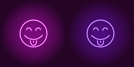 Neon illustration of teasing emoji. Vector icon of cartoon teasing emoji with tongue and narrowed eyes in outline neon style, purple and violet colors. Glowing emoticon with backlight