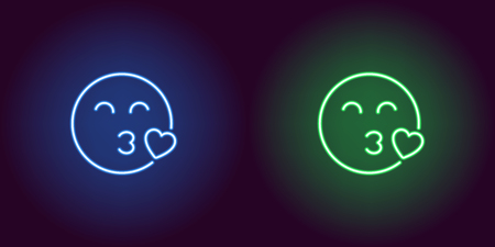 Neon illustration of enamored emoji. Vector icon of cartoon kissing emoji with heart and narrowed eyes in outline neon style, blue and green colors. Glowing emoticon with backlight