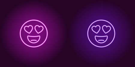 Neon illustration of emoji in love. Vector icon of cartoon enamored emoji with heart eyes and smile in outline neon style, purple and violet colors. Glowing emoticon with backlight