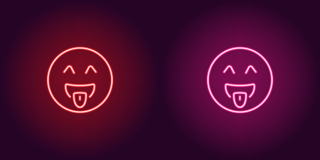 Neon illustration of teasing emoji. Vector icon of cartoon teasing emoji with tongue and winking eyes in outline neon style, red and pink colors. Glowing emoticon with backlight