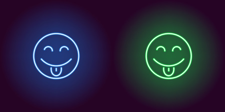 Neon illustration of teasing emoji. Vector icon of cartoon teasing emoji with tongue and narrowed eyes in outline neon style, blue and green colors. Glowing emoticon with backlight  イラスト・ベクター素材