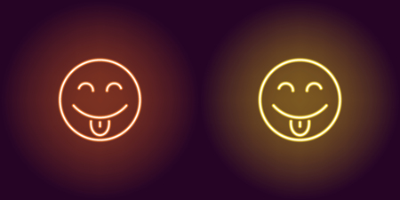 Neon illustration of teasing emoji. Vector icon of cartoon teasing emoji with tongue and narrowed eyes in outline neon style, orange and yellow colors. Glowing emoticon with backlight  イラスト・ベクター素材