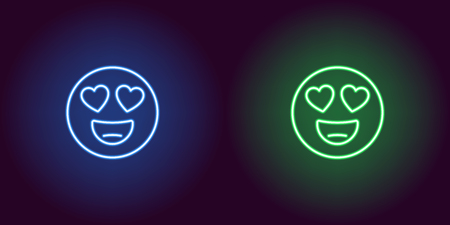Neon illustration of emoji in love. Vector icon of cartoon enamored emoji with heart eyes and smile in outline neon style, blue and green colors. Glowing emoticon with backlight Illustration