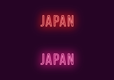 Neon name of Japan country. Vector text of Japan territory, Neon inscription with backlight in Thin style, red and pink colors. Isolated glowing title for decoration. Without overlay mode