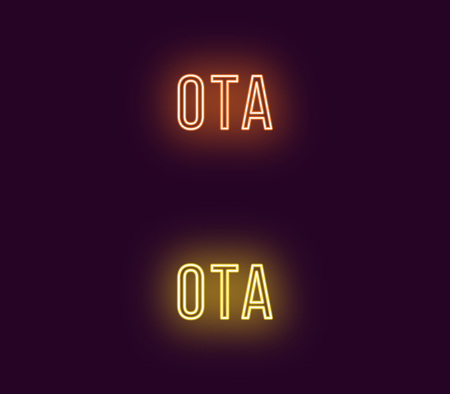 Neon name of Ota city in Japan. Vector text of Ota, Neon inscription with backlight in Thin style, orange and yellow colors. Isolated glowing title for decoration. Without overlay mode