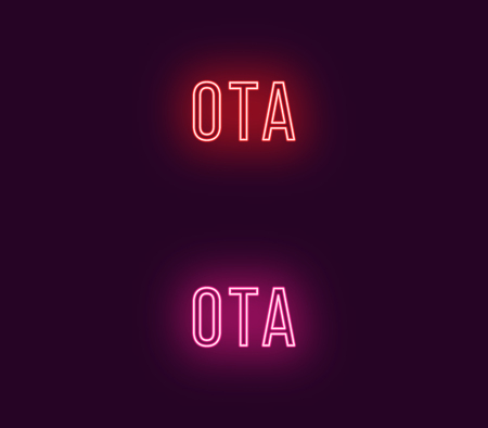 Neon name of Ota city in Japan. Vector text of Ota, Neon inscription with backlight in Thin style, red and pink colors. Isolated glowing title for decoration. Without overlay mode