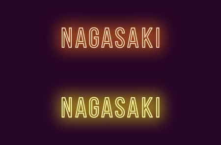 Neon name of Nagasaki city in Japan. Vector text of Nagasaki, Neon inscription with backlight in Thin style, orange and yellow colors. Isolated glowing title for decoration. Without overlay mode Illustration