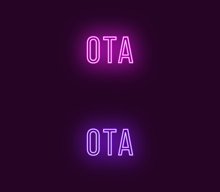 Neon name of Ota city in Japan. Vector text of Ota, Neon inscription with backlight in Thin style, purple and violet colors. Isolated glowing title for decoration. Without overlay mode