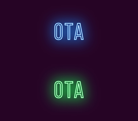 Neon name of Ota city in Japan. Vector text of Ota, Neon inscription with backlight in Thin style, blue and green colors. Isolated glowing title for decoration. Without overlay mode