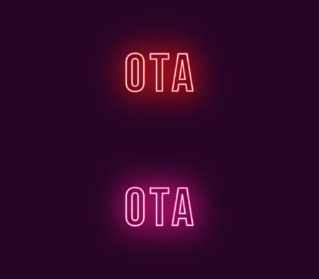 Neon name of Ota city in Japan. Vector text of Ota, Neon inscription with backlight in Bold style, red and pink colors. Isolated glowing title for decoration. Without overlay mode