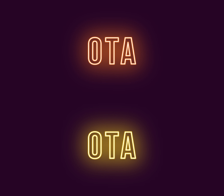 Neon name of Ota city in Japan. Vector text of Ota, Neon inscription with backlight in Bold style, orange and yellow colors. Isolated glowing title for decoration. Without overlay mode Иллюстрация