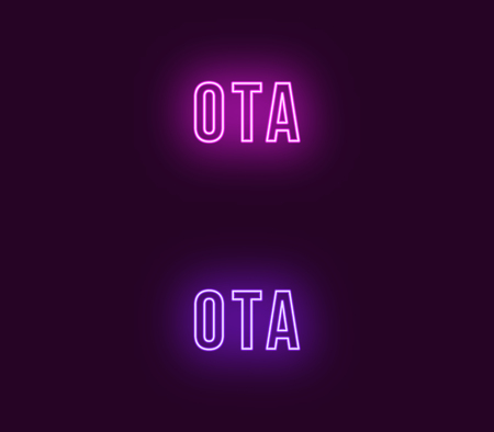 Neon name of Ota city in Japan. Vector text of Ota, Neon inscription with backlight in Bold style, purple and violet colors. Isolated glowing title for decoration. Without overlay mode Иллюстрация
