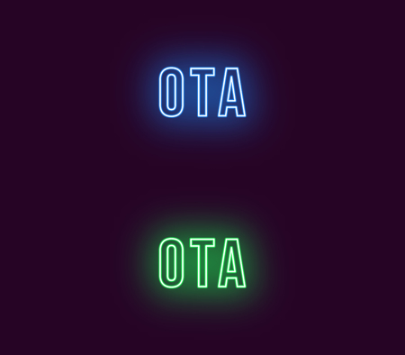 Neon name of Ota city in Japan. Vector text of Ota, Neon inscription with backlight in Bold style, blue and green colors. Isolated glowing title for decoration. Without overlay mode