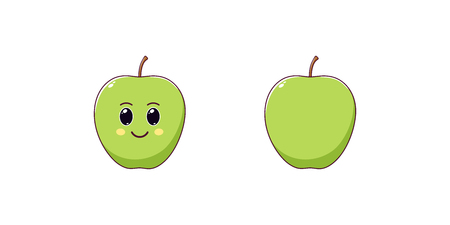 Cute Kawaii Apple, Cartoon Ripe Fruit. Vector illustration of Cartoon Green Apple with Kind Eyes and Smile, Funny Emoji. Juicy Fruity Sticker. Child Print for T-shirt. Friendly and Tasty Character