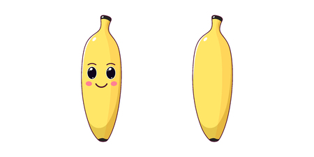 Cute Kawaii Banana, Cartoon Ripe Fruit. Vector illustration of Cartoon Yellow Banana with Kind Eyes and Smile, Funny Emoji. Gentle Fruity Sticker. Child Print for T-shirt. Friendly and Tasty Character