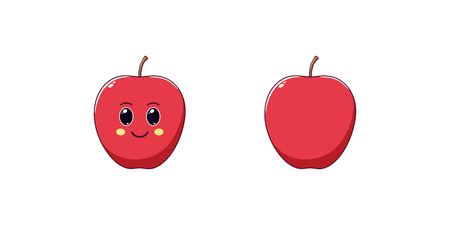 Cute Kawaii Apple, Cartoon Ripe Fruit. Vector illustration of Cartoon Red Apple with Kind Eyes and Smile, Funny Emoji. Juicy Fruity Sticker. Child Print for T-shirt. Friendly and Tasty Character Ilustracja