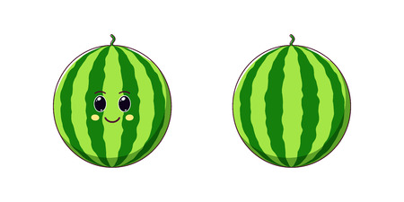Cute Kawaii Watermelon, Cartoon Ripe Fruit. Vector illustration of Cartoon Sweet Watermelon with Kind Eyes and Smile, Funny Emoji. Juicy Tasty Sticker. Child Print for T-shirt. Friendly Character