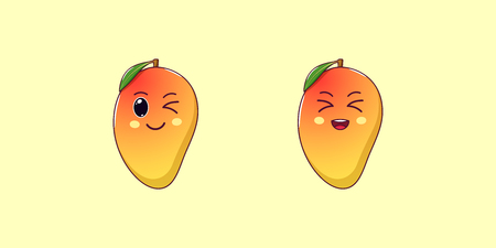 Cute Kawaii Mango, Cartoon Tropical Fruit. Vector illustration of yellowish-red Ripe Mango with Winking and Laughing Face, Funny Emoji. Juicy Fruity Sticker. Print for T-shirt. Friendly Character