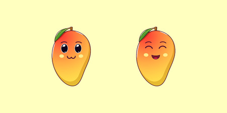 Cute Kawaii Mango, Cartoon Tropical Fruit. Vector illustration of yellowish-red Ripe Mango with Charming and Cheerful Face, Funny Emoji. Juicy Fruity Sticker. Print for T-shirt. Friendly Character