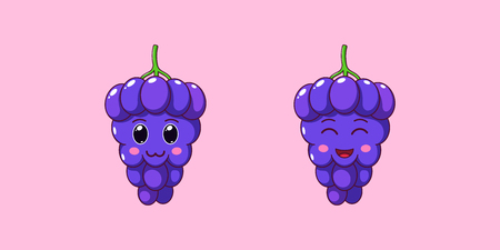Cute Kawaii Grape, Cartoon Ripe Berries. Vector illustration of Cartoon Bunch of Blue Grapes with Charming and Cheerful Face, Funny Emoji. Juicy Fruity Sticker. Print for T-shirt. Friendly Vine Stok Fotoğraf - 122020928