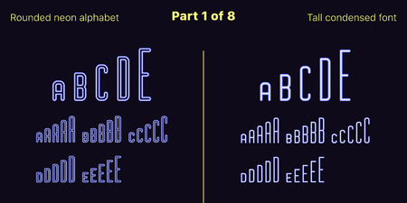 Condensed blue neon font, Rounded. Vector typefaces set in outlined and filled styles, Part 1 of 8. Neon uppercase alphabet with narrow letters, numbers and symbols. For banner and display headlines