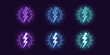 Neon icon set of Lightning bolt flash. Vector illustration of glowing zigzag Lightning surrounded sparks. Electric strike charge. Neon glowing sign, symbol, icon. Violet, blue and azure