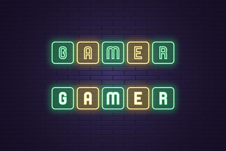 Neon composition of text Gamer. Vector illustration of neon word Gamer, each letter in the frame button. Glowing gaming headline in esports. Isolated outline icon, sign. Green and yellow color