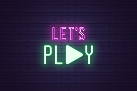 Neon composition of Lets play sign. Vector illustration of neon Slogan with text Lets play and icon. Isolated glowing motivational headline. Bright UI element. Green and purple color