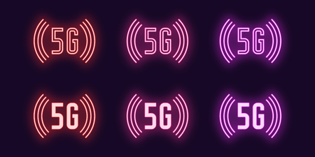 Neon icon set of 5G network mobile technology. Vector illustration of wireless 5G internet connection with high speed waves of data transfer. Neon glowing sign, symbol, icon. Red, pink and purple
