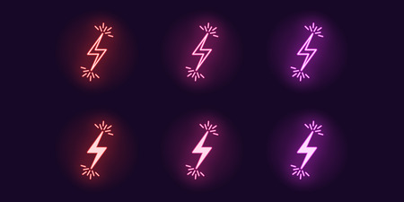 Neon icon set of Lightning bolt flash. Vector illustration of glowing Lightning with sparks. Electric strike charge. Neon glowing sign, symbol, icon. Red, pink and purple color