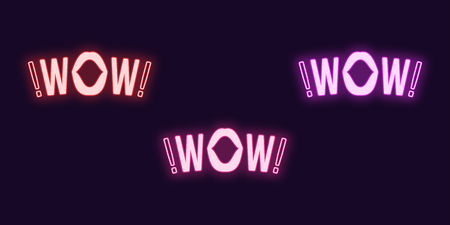 Neon icon set of Wow phrase. Vector illustration of glowing Neon text Wow with woman mouth. Isolated digital collection of signs, symbols for Entertainment industry. Red, pink and purple color