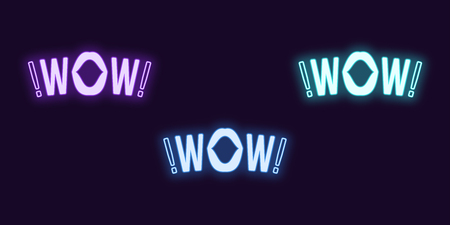 Neon icon set of Wow phrase. Vector illustration of glowing Neon text Wow with woman mouth. Isolated digital collection of signs, symbols for Entertainment industry. Violet, blue and azure color