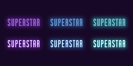 Neon icon set of text Superstar. Vector illustration of glowing Neon word Superstar. Isolated digital collection of icon, sign and symbol for Entertainment industry. UI element. Violet, blue, azure