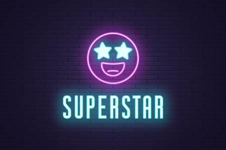Neon composition of glowing emoji Superstar. Vector glowing illustration of Neon emoji with starry eyes and text Superstar. Bright digital signboard for Entertainment industry. Purple and blue color Vectores