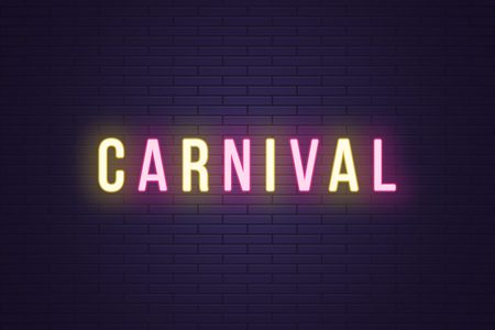 Neon composition of headline Carnival. Vector illustration of glowing Neon text Carnival. Bright digital signboard for Entertainment industry. Duotone color, yellow and pink