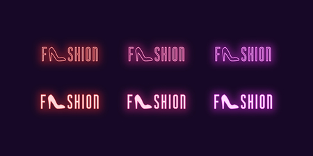 Neon icon set of word Fashion. Vector illustration of glowing Neon text Fashion with Woman shoe. Isolated digital collection of signs, symbols for Glamour industry. Red, pink and purple color Ilustração