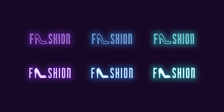 Neon icon set of word Fashion. Vector illustration of glowing Neon text Fashion with Woman shoe. Isolated digital collection of signs, symbols for Glamour industry. Violet, blue and azure color
