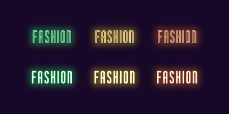 Neon icon set of word Fashion. Vector illustration of glowing Neon text Fashion. Isolated digital collection of signs, symbols for Glamour industry. Green, yellow and orange color
