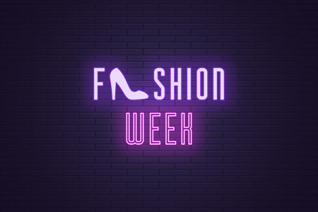 Neon composition of headline Fashion Week. Vector illustration of glowing Neon text Fashion Week with Woman shoe. Bright digital signboard for Glamour industry. Violet and purple color