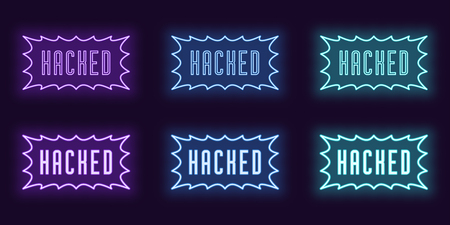 Neon icon set of stamp Hacked. Vector illustration of glowing Neon text Hacked with border frame. Isolated digital collection of signs, symbols and labels for Web. Violet, blue and azure color