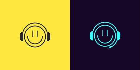 Icon set of emoji Gamer with Smile and Headphones. Illustration of cartoon Gamer or chat Bot or Dj in outline style. Isolated collection of signs, symbols, vector UI element. Black and azure color