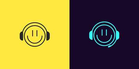 Zestaw ikon emoji Gamer z uśmiechem i słuchawkami. Ilustracja cartoon Gamer lub czat Bot lub Dj w stylu konspektu. Na białym tle zbiór znaków, symboli, element interfejsu użytkownika wektora. Czarny i lazurowy kolor