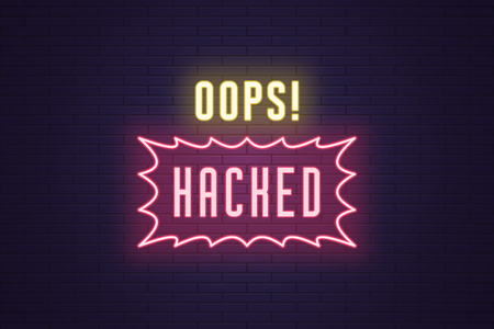 Neon composition of headline Oops Hacked. Vector illustration of glowing Neon text Oops Hacked. Bright digital signboard of Hacking protection system. Yellow and pink color