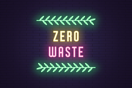Neon composition of headline Zero Waste. Glowing Neon text Zero Waste with plant branches. Bright digital signboard, Environment care. Vector illustration and banner. Yellow, pink and green color Illustration