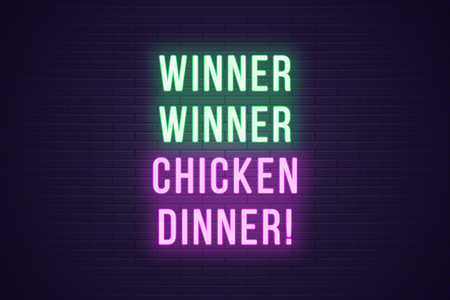 Neon gaming slogan, Winner Winner Chicken Dinner. Glowing Neon text for Win in Gaming industry. Bright digital signboard, banner, vector illustration. Green and purple color