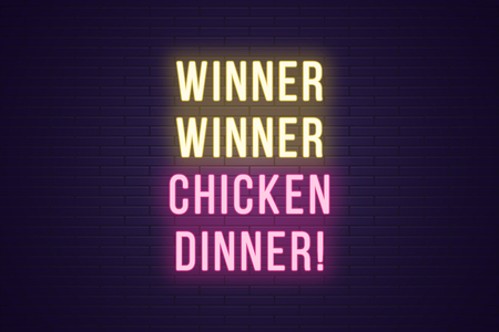 Neon gaming slogan, Winner Winner Chicken Dinner. Glowing Neon text for Win in Gaming industry. Bright digital signboard, banner, vector illustration. Yellow and pink color Illusztráció