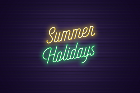 Neon lettering of Summer Holidays. Glowing headline, bright neon cursive text of Summer Holidays. Title template for web banner and poster. Yellow and green color