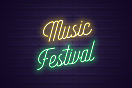 Neon lettering of Music Festival. Glowing headline, bright neon cursive text of Music Festival. Title template for web banner and poster. Yellow and green color