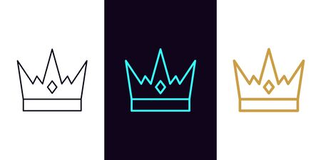 Crown icon with different stroke thickness, Kingdom. Set of isolated Royal crown in outline style. King or Queen sign, element and symbol. Vector silhouette illustration 向量圖像